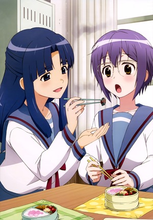 yande.re 311141 asakura_ryouko megane nagato_yuki nagato_yuki-chan_no_shoushitsu seifuku