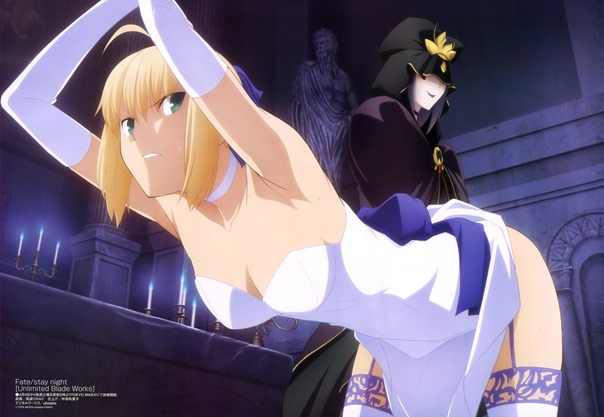 yande.re 315967 caster cleavage dress fate_stay_night fate_stay_night_unlimited_blade_works saber shimabukuro_ricardo skirt_lift stockings thighhighs