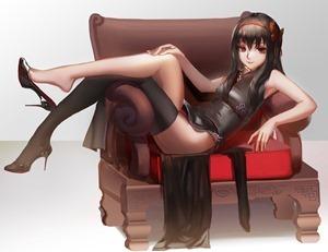 yande.re 328824 akemi_homura blackrabbitsoul chinadress heels pantsu puella_magi_madoka_magica thighhighs